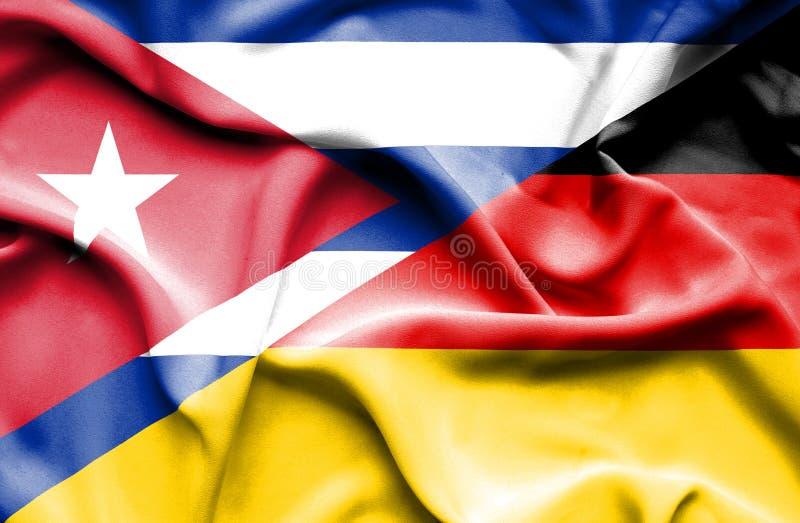 Wellenartig bewegende Flagge von Deutschland und von Kuba vektor abbildung