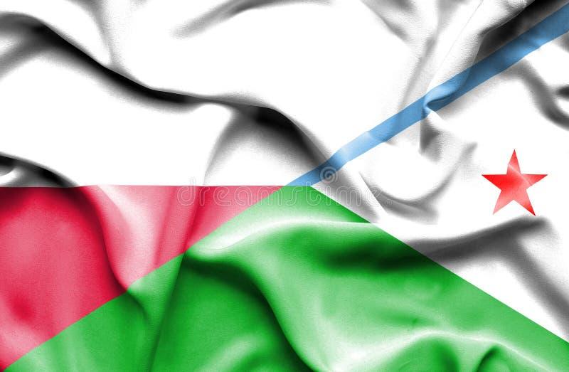 Wellenartig bewegende Flagge von Dijbouti und von Polen stock abbildung