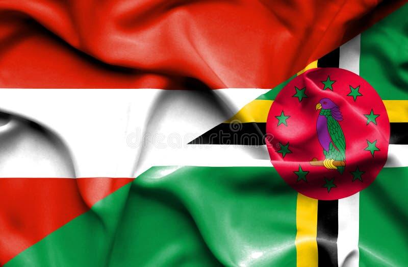 Wellenartig bewegende Flagge von Dominica und von Österreich lizenzfreie abbildung