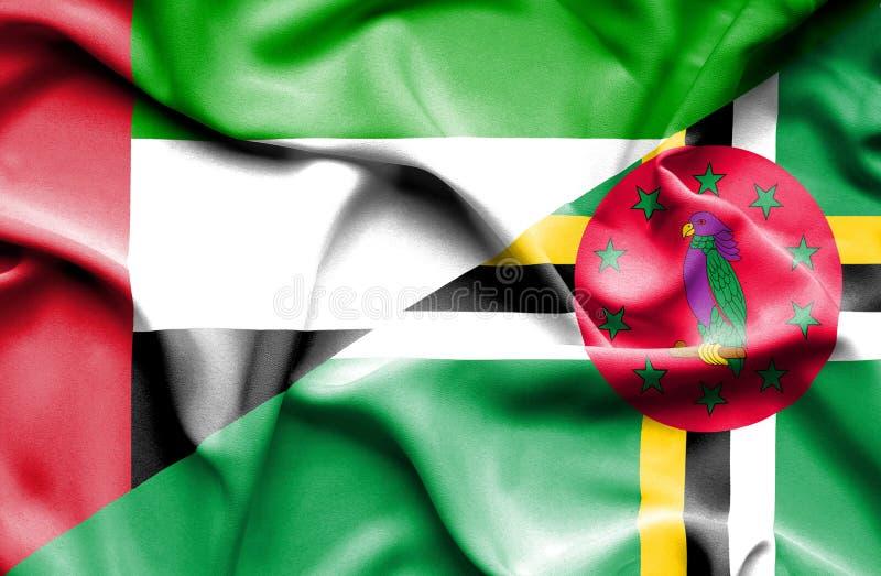 Wellenartig bewegende Flagge von Dominica und von Arabische Emirate vektor abbildung