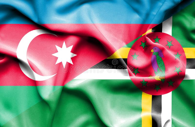 Wellenartig bewegende Flagge von Dominica und von Aserbaidschan vektor abbildung