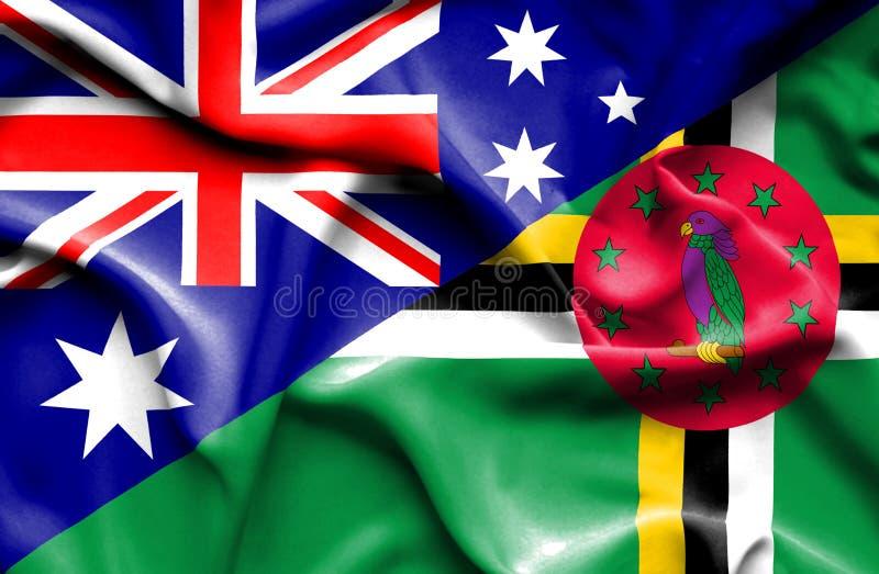 Wellenartig bewegende Flagge von Dominica und von Australien stock abbildung