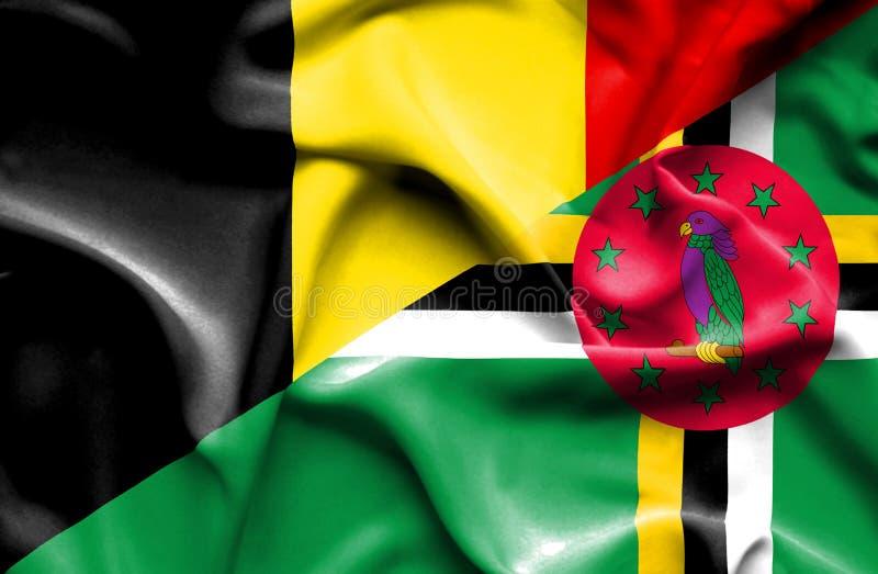 Wellenartig bewegende Flagge von Dominica und von Belgien vektor abbildung