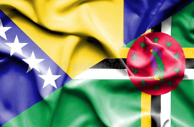 Wellenartig bewegende Flagge von Dominica und von Bosnien und Herzegowina lizenzfreie abbildung