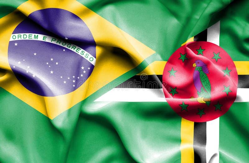 Wellenartig bewegende Flagge von Dominica und von Brasilien stock abbildung