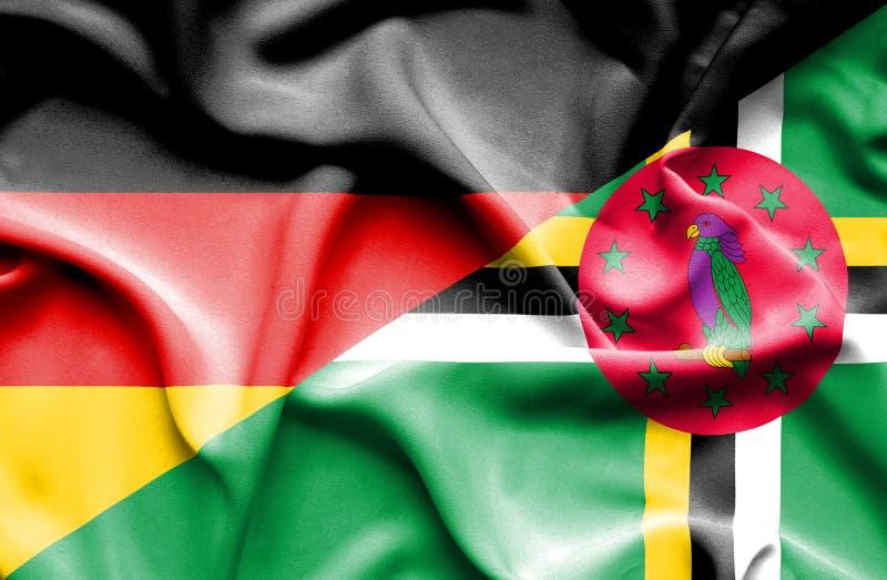 Wellenartig bewegende Flagge von Dominica und von Deutschland vektor abbildung