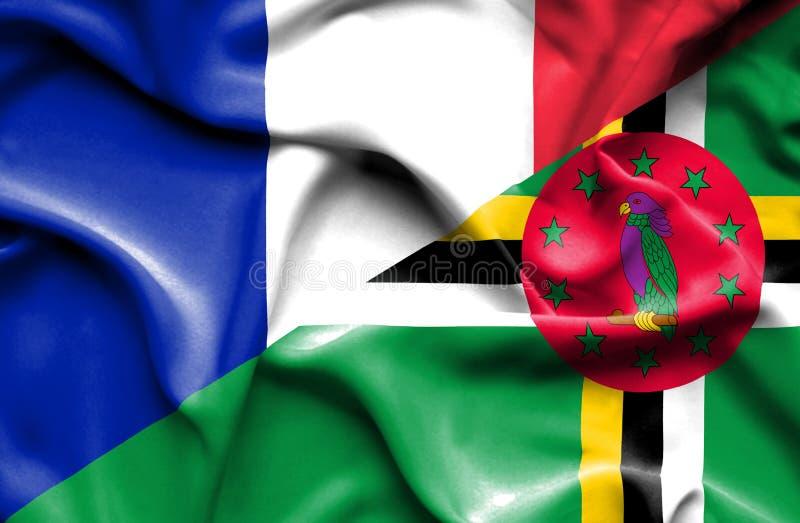 Wellenartig bewegende Flagge von Dominica und von Frankreich lizenzfreie abbildung