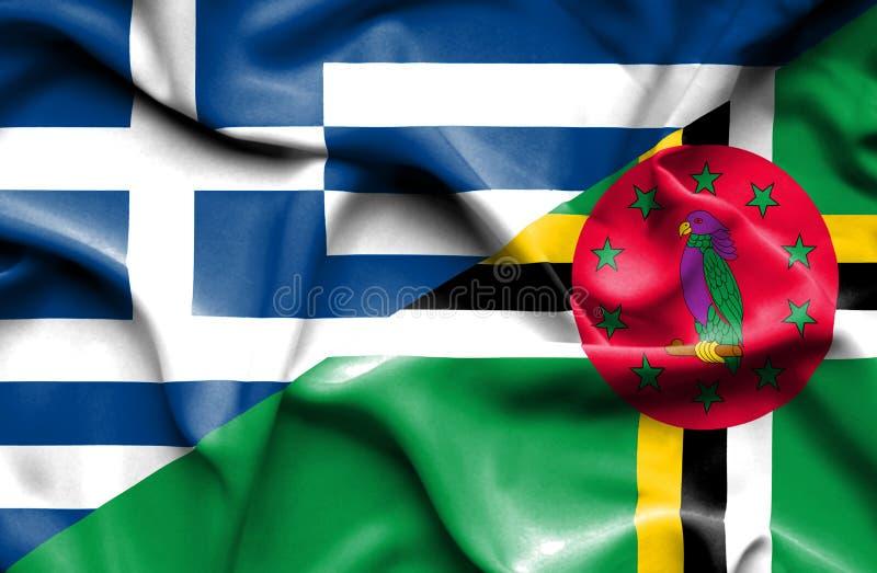Wellenartig bewegende Flagge von Dominica und von Griechenland vektor abbildung