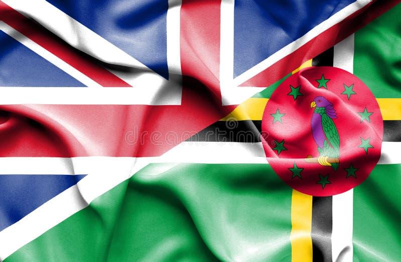 Wellenartig bewegende Flagge von Dominica und von Großbritannien stock abbildung