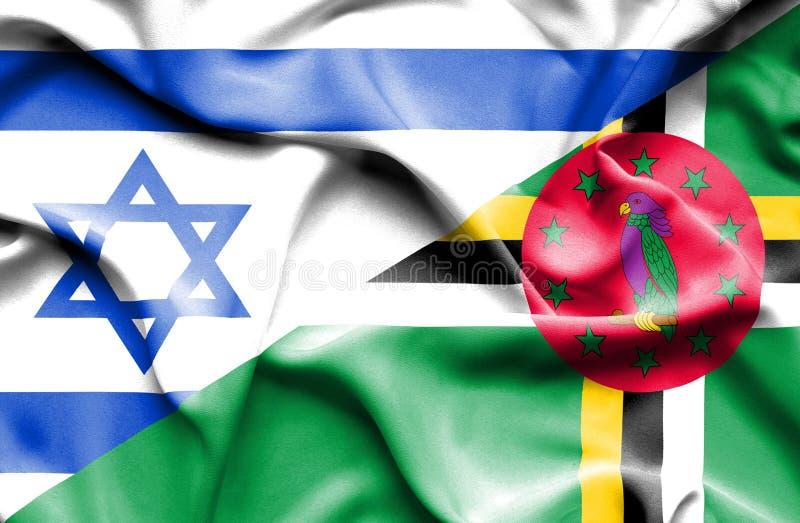 Wellenartig bewegende Flagge von Dominica und von Israel stock abbildung