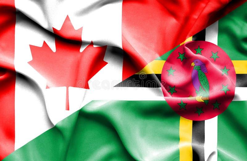 Wellenartig bewegende Flagge von Dominica und von Kanada stock abbildung