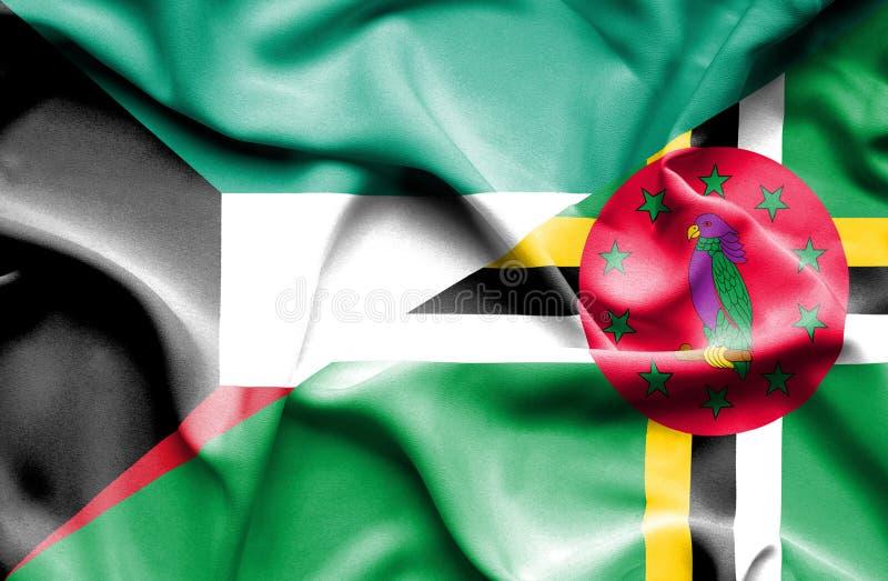 Wellenartig bewegende Flagge von Dominica und von Kuwait lizenzfreie abbildung