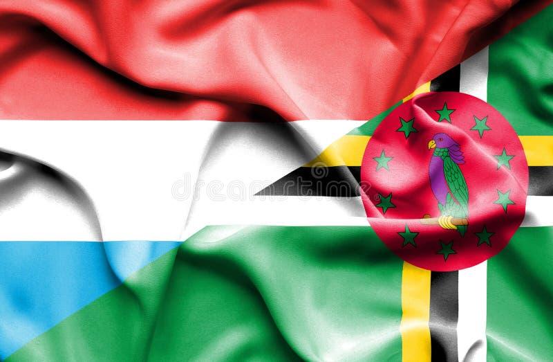 Wellenartig bewegende Flagge von Dominica und von Luxemburg stock abbildung