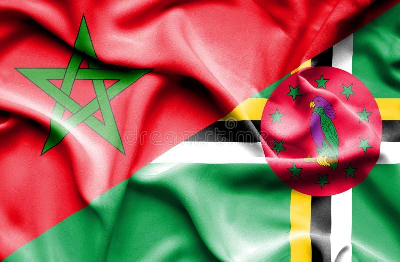 Wellenartig bewegende Flagge von Dominica und von Marokko stock abbildung