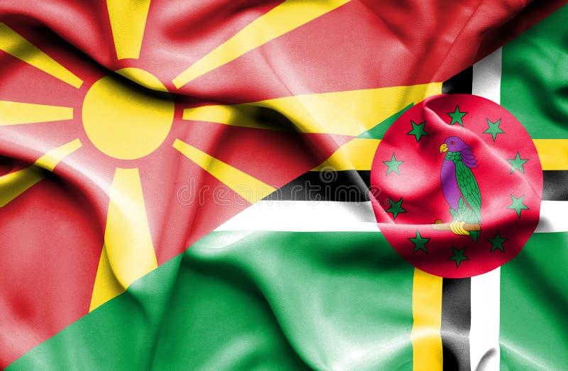 Wellenartig bewegende Flagge von Dominica und von Mazedonien lizenzfreie abbildung