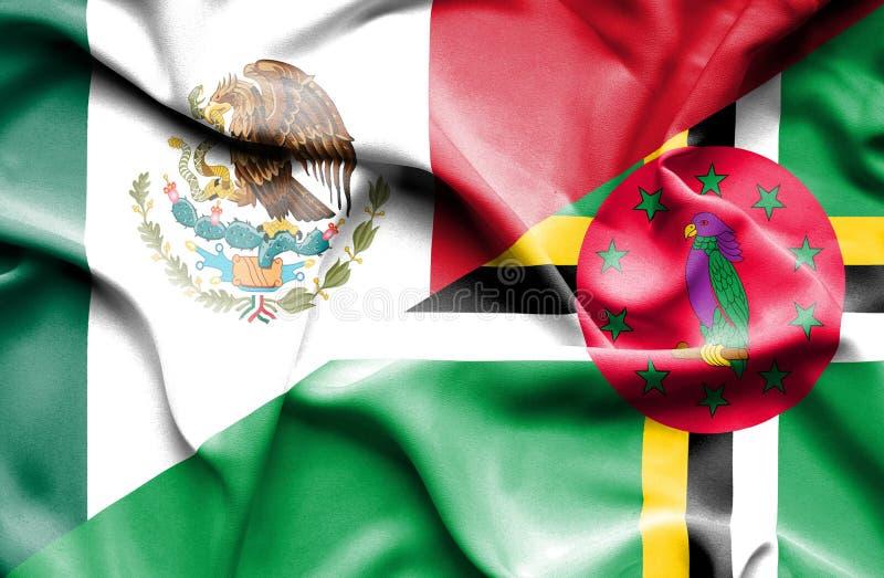 Wellenartig bewegende Flagge von Dominica und von Mexiko vektor abbildung