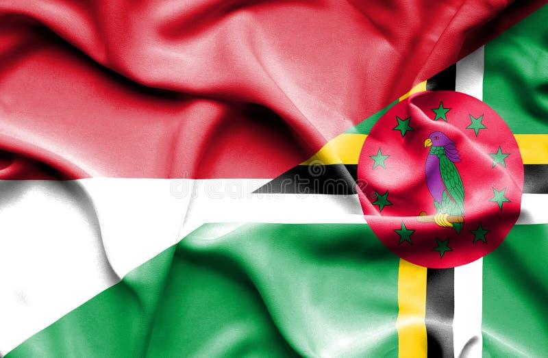 Wellenartig bewegende Flagge von Dominica und von Monaco vektor abbildung