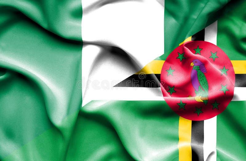 Wellenartig bewegende Flagge von Dominica und von Nigeria vektor abbildung