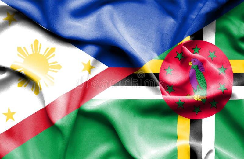 Wellenartig bewegende Flagge von Dominica und von Philippinen stock abbildung
