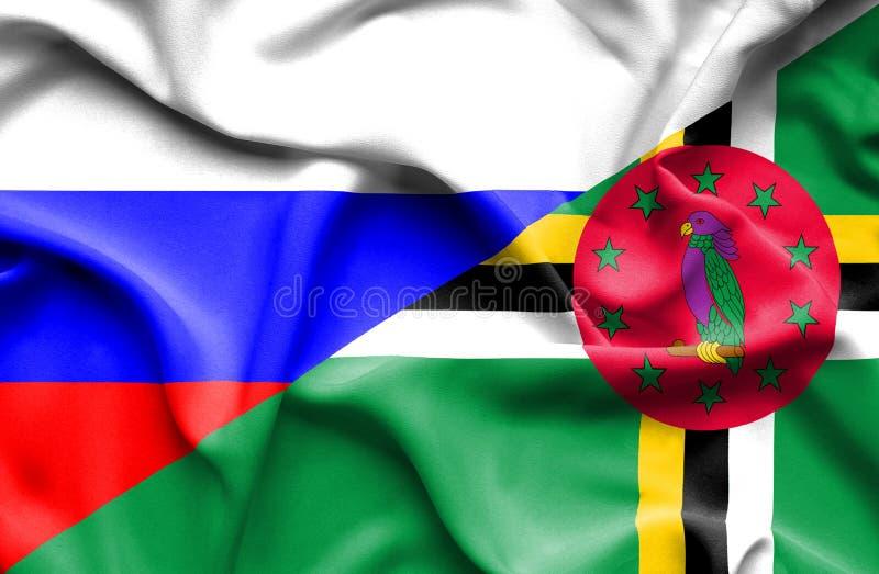 Wellenartig bewegende Flagge von Dominica und von Russland lizenzfreie abbildung