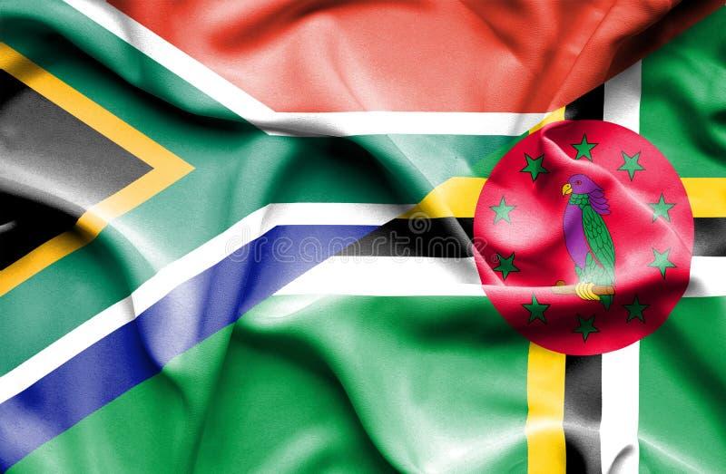 Wellenartig bewegende Flagge von Dominica und von Südafrika lizenzfreie abbildung