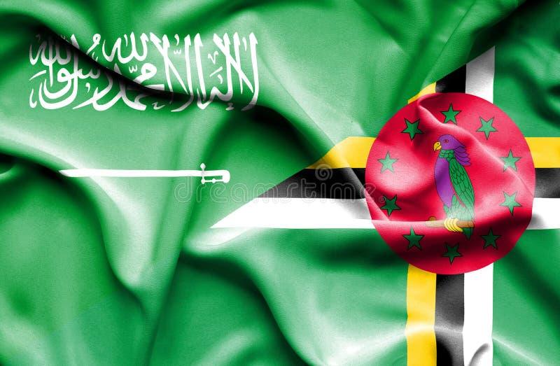 Wellenartig bewegende Flagge von Dominica und von Saudi-Arabien vektor abbildung