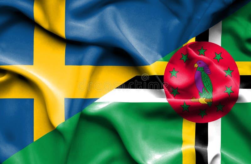 Wellenartig bewegende Flagge von Dominica und von Schweden lizenzfreie abbildung