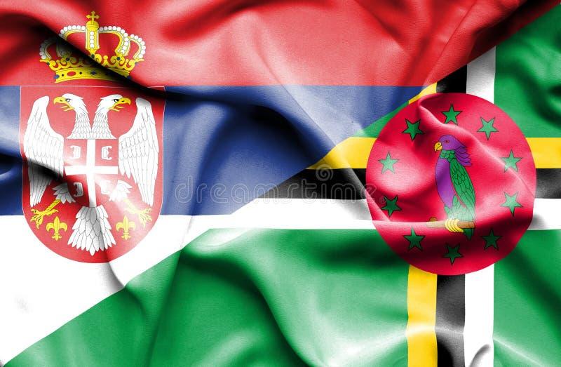 Wellenartig bewegende Flagge von Dominica und von Serbien stock abbildung