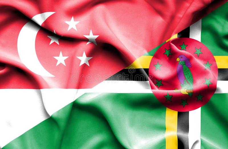 Wellenartig bewegende Flagge von Dominica und von Singapur lizenzfreie abbildung