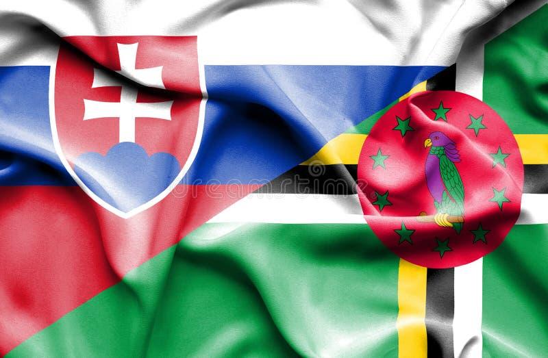 Wellenartig bewegende Flagge von Dominica und slowakisch stock abbildung