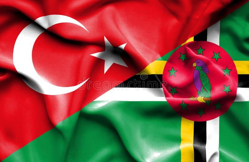 Wellenartig bewegende Flagge von Dominica und von Türkei vektor abbildung