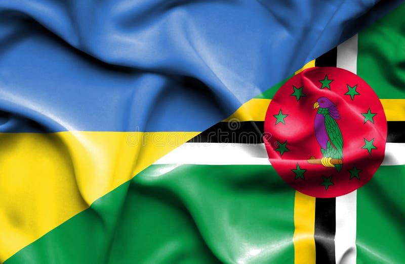 Wellenartig bewegende Flagge von Dominica und von Ukraine lizenzfreie abbildung