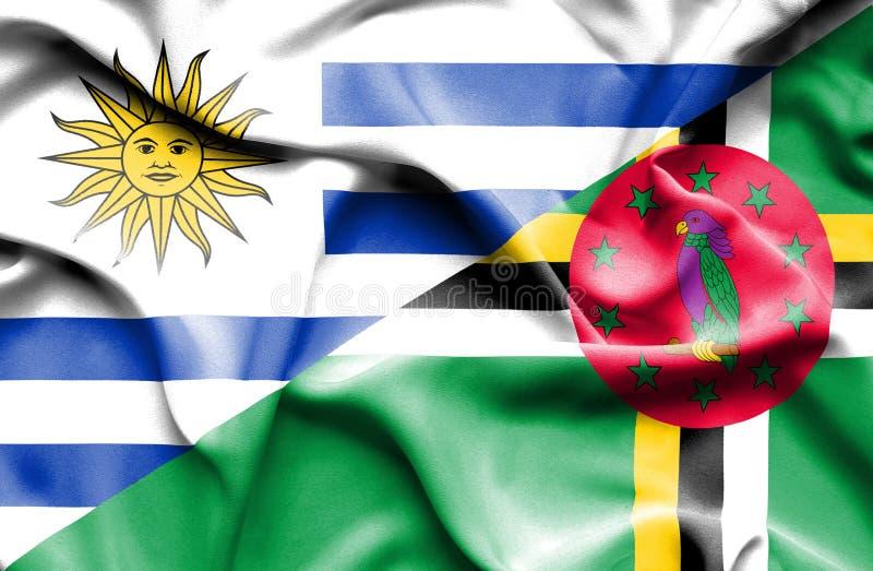 Wellenartig bewegende Flagge von Dominica und von Uruguay stock abbildung