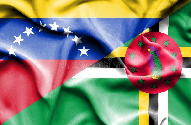 Wellenartig bewegende Flagge von Dominica und von Venezuela vektor abbildung