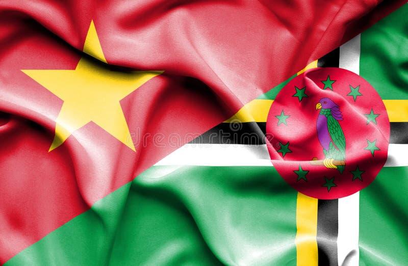 Wellenartig bewegende Flagge von Dominica und von Vietnam vektor abbildung
