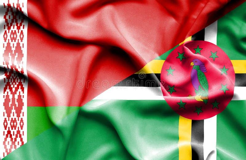 Wellenartig bewegende Flagge von Dominica und von Weißrussland lizenzfreie abbildung