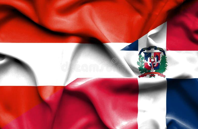 Wellenartig bewegende Flagge von Dominikanischer Republik und von Österreich stock abbildung