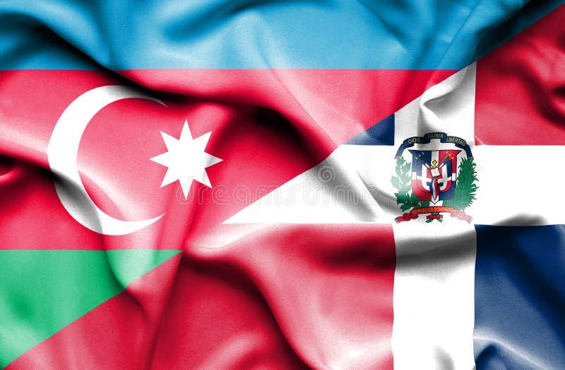 Wellenartig bewegende Flagge von Dominikanischer Republik und von Aserbaidschan vektor abbildung