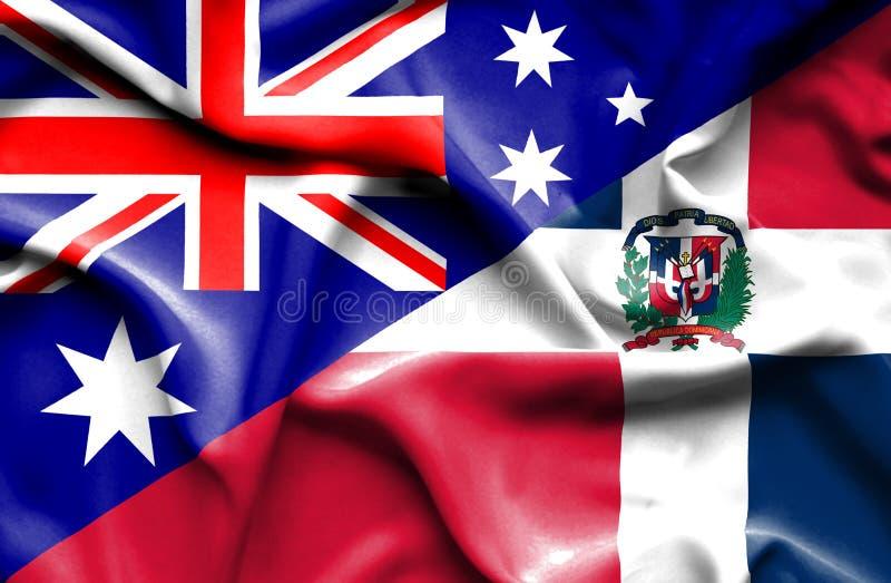 Wellenartig bewegende Flagge von Dominikanischer Republik und von Australien vektor abbildung