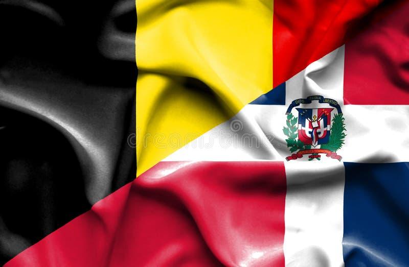 Wellenartig bewegende Flagge von Dominikanischer Republik und von Belgien lizenzfreie abbildung