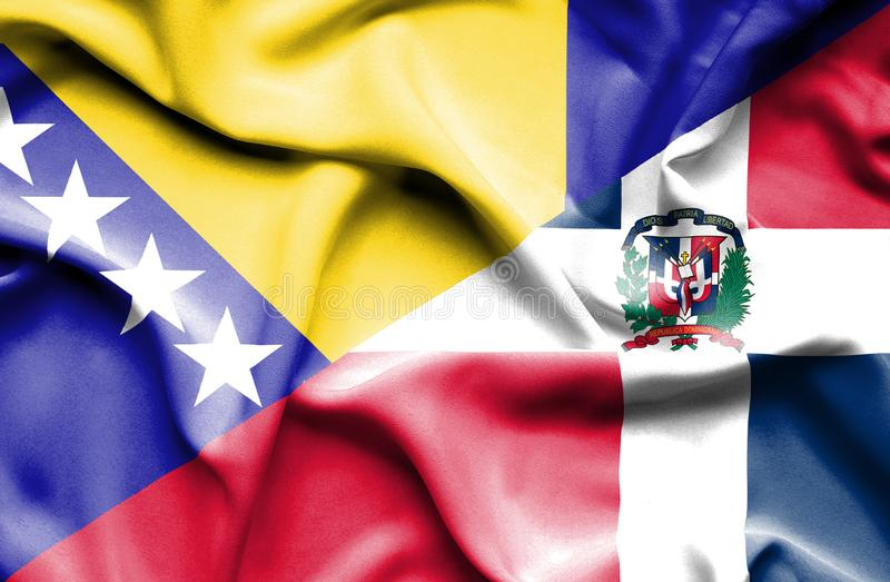 Wellenartig bewegende Flagge von Dominikanischer Republik und von Bosnien und Herzegowina vektor abbildung