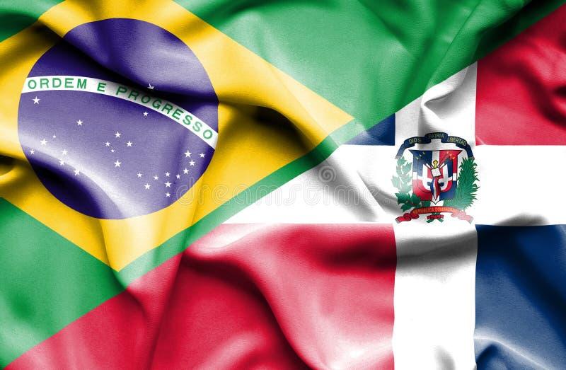 Wellenartig bewegende Flagge von Dominikanischer Republik und von Brasilien vektor abbildung