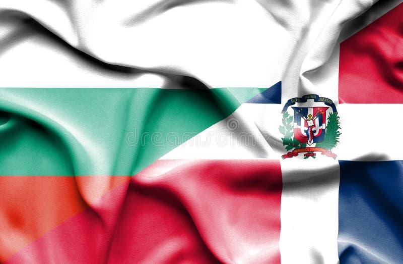 Wellenartig bewegende Flagge von Dominikanischer Republik und von Bulgarien vektor abbildung