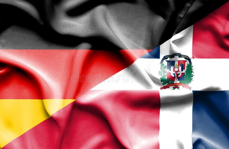 Wellenartig bewegende Flagge von Dominikanischer Republik und von Deutschland lizenzfreie abbildung