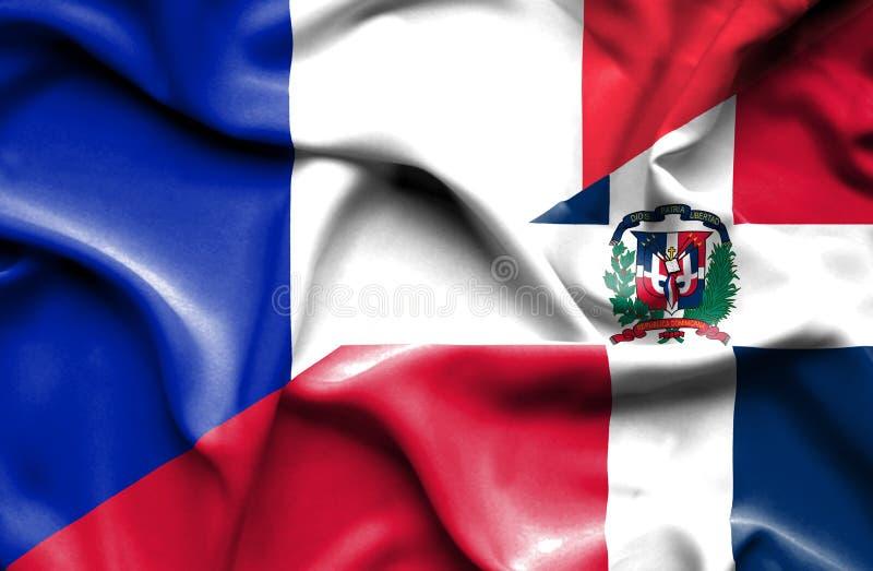 Wellenartig bewegende Flagge von Dominikanischer Republik und von Frankreich lizenzfreie abbildung