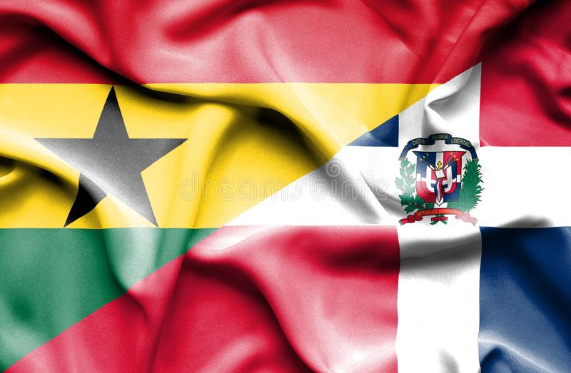 Wellenartig bewegende Flagge von Dominikanischer Republik und von Ghana vektor abbildung