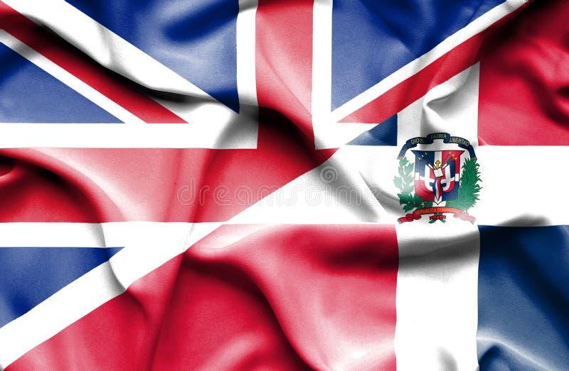 Wellenartig bewegende Flagge von Dominikanischer Republik und von Großbritannien vektor abbildung