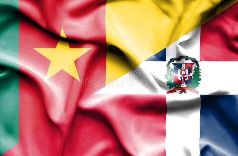 Wellenartig bewegende Flagge von Dominikanischer Republik und von Kamerun lizenzfreie abbildung