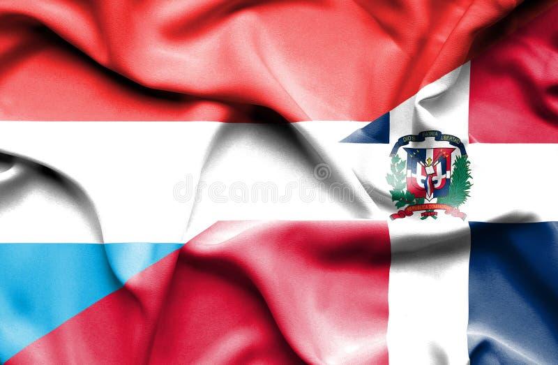 Wellenartig bewegende Flagge von Dominikanischer Republik und von Luxemburg vektor abbildung