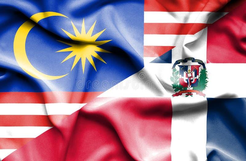 Wellenartig bewegende Flagge von Dominikanischer Republik und von Malaysia stock abbildung